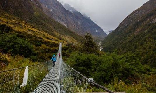 Un des ponts suspendu avant d'arriver au Village de Langtang
